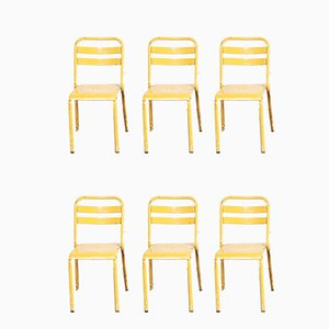 French Metal Café Dining Chairs from Tolix, 1950s, Set of 6