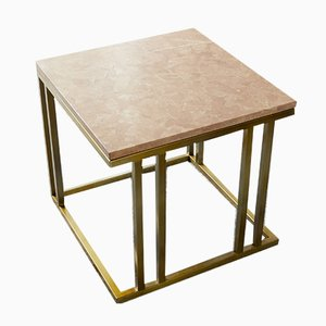 Tavolino Elio in ottone e marmo di Casa Botelho