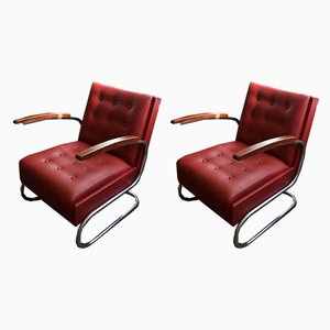 Red Leather Armchairs by Mücke Melder, 1940s, Set of 2