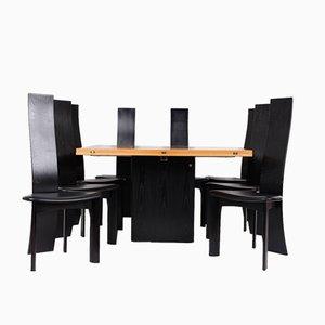 Mesa de comedor y 8 sillas de Bob & Dries van den Berghe para Tranekær Furniture, años 80
