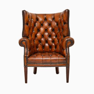 Leather Wingback Barrel Armchair, 1930s