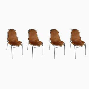Französische Les Arcs Esszimmerstühle mit cognacfarbener Lederbespannung von Charlotte Perriand, 1970er, 4er Set