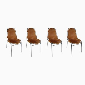 French Les Arcs Cognac Leather Dining Chairs by Charlotte Perriand, 1970s, Set of 4