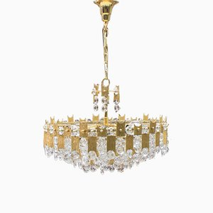 Large Gilt Bronze and Crystal Glass Chandelier from Palwa, 1970s