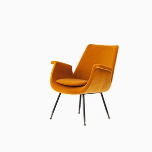 Italian Yellow Velvet Armchair by Gastone Rinaldi, 1950s