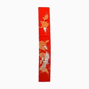 Japanischer Wandbehang aus Seide & Metall, 1980er