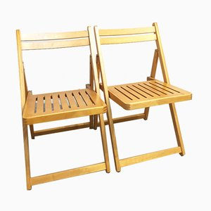 Vintage Beech Folding Chairs, 1980s, Set of 2