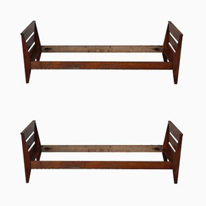 French Bed Frames by René Gabriel, 1950s, Set of 2