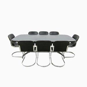 Tavolo da pranzo impiallacciato in quercia e sedie in pelle di Willy Rizzo per Cidué, anni '70, set di 9