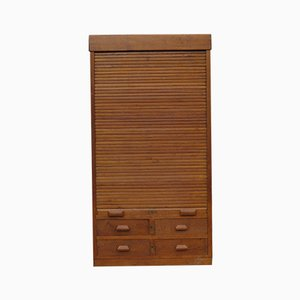 Oak Tambour Cupboard, 1940s