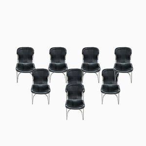 Black Leather Dining Chairs by Willy Rizzo for Cidué, 1970s, Set of 8
