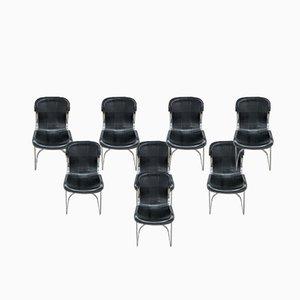Esszimmerstühle aus schwarzem Leder von Willy Rizzo für Cidué, 1970er, 8er Set