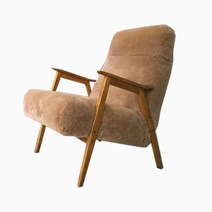 Vintage Brown Sheepskin Armchair