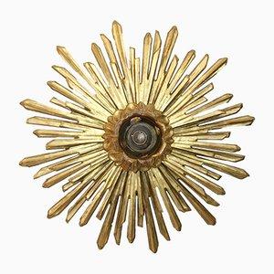 Lámpara de techo vintage de madera dorada