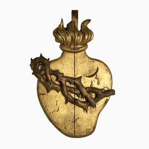 Antikes heiliges Herz aus vergoldetem Holz