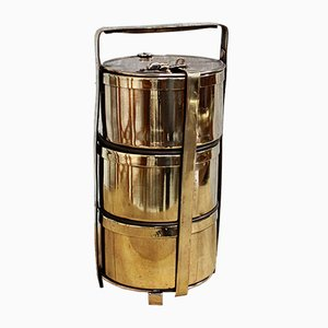 Fiambrera Tiffin compartimentada de latón de Sanghvi Factory, años 40