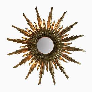 Espejo español vintage de madera dorada