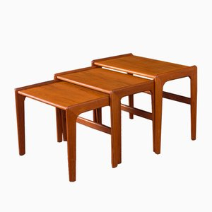 Danish Teak Veneer Nesting Tables, 1960s, Set of 3