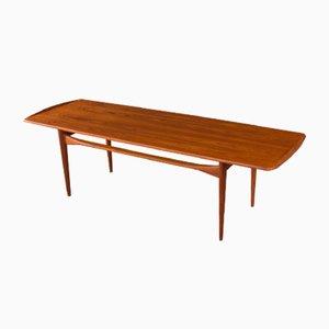 Tavolino da caffè impiallacciato in teak di Tove & Edvard Kindt-Larsen per France & Søn/France & Daverkosen, Danimarca, anni '50