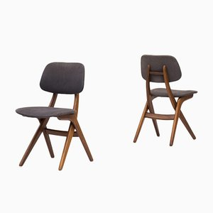 Dutch Model Pelican Teak Dining Chairs by Louis van Teeffelen for WéBé, 1950s, Set of 4