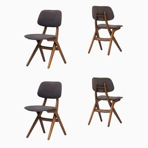 Dutch Model Pelican Teak Dining Chairs by Louis van Teeffelen for WéBé, 1950s, Set of 4