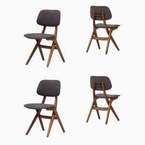 Niederländische Modell Pelican Esszimmerstühle aus Teak von Louis van Teeffelen für WéBé, 1950er, 4er Set