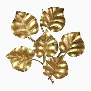 Applique Mid-Century con foglie dorate, Francia