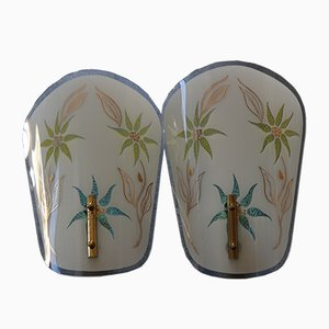 French Glass Sconces, 1960s, Set of 2