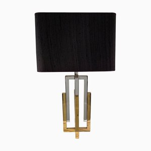 Brass and Chrome Table Lamp by Willy Rizzo, 1970s