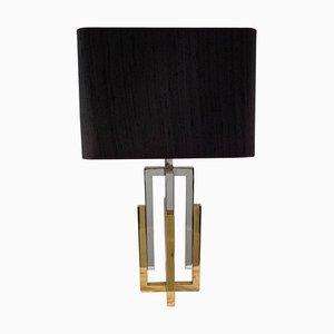 Lámpara de mesa de latón y metal cromado de Willy Rizzo, años 70