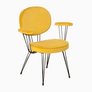 Ochre Yellow Wire Steel Armchair, 1960s