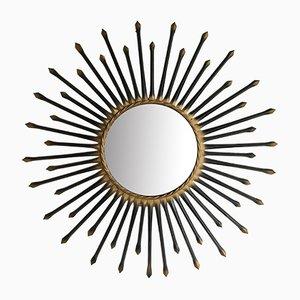 Mid-Century Spiegel mit schwarzem Rahmen von Chaty Vallauris