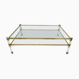 2-Tier Lucite and Brass Coffee Table, 1970s