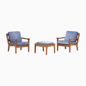 Dänische Sessel & Fußhocker von Juul Kristensen für JK Denmark, 1950er, 2er Set