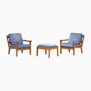 Danish Lounge Chairs and Ottoman by Juul Kristensen for JK Denmark, 1950s, Set of 2