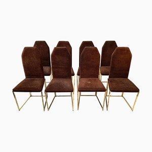 Chaises de Salle à Manger en Acier Laqué Doré et Daim de Belgo Chrom, 1970s, Set de 8