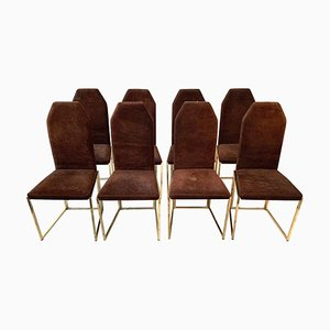 Golden Lacquered Steel and Suede Dining Chairs from Belgo Chrom, 1970s, Set of 8