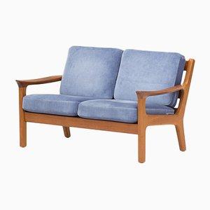 Canapé en Teck et Tissu Bleu par Juul Kristensen pour JK Denmark, Danemark, 1950s