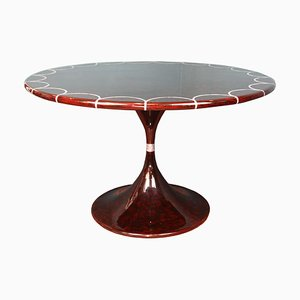 Lacquered Mahogany Dining Table, 1970s