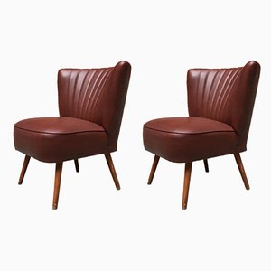 Italian Dark Burgundy Leatherette and Beech Lounge Chairs, 1960s, Set of 2