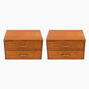 Floating Teak Nightstands, 1950s, Set of 2