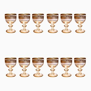Antique Gilded Glasses, Set of 12