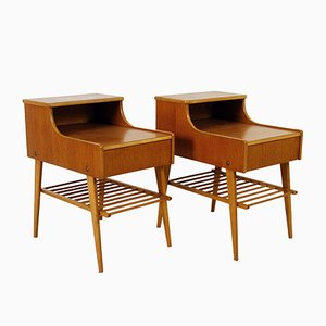 Swedish Teak Nightstands, 1950s, Set of 2
