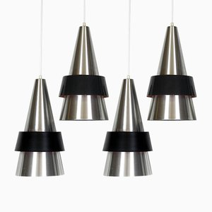 Danish Ceiling Lamps by Johannes Hammerborg for Fog & Mørup, 1963, Set of 4