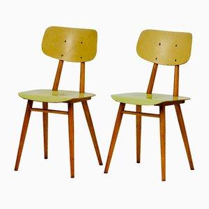 Gelbe Esszimmerstühle von TON, 1960er, 2er Set