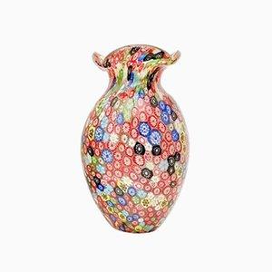 Rote Millefiori Vase aus Muranoglas von Fratelli Toso 1960er