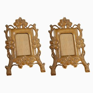 Vintage Hand-Carved Boxwood Picture Frames, Set of 2