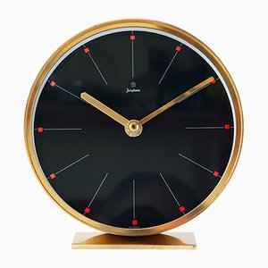 Mid-Century Brass Desk Clock from Junghans