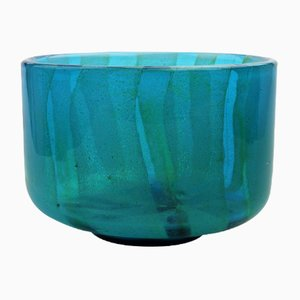 Blue Glass Bowl by Michael Harris for Mdina, 1980s