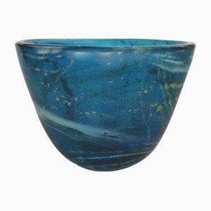 Blaue Glasschale von Michael Harris für Mdina, 1980er
